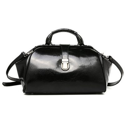 Black Designer Genuine Leather Handbag