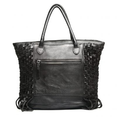 Black Vegetable Tanned Leather Handbag