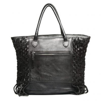 Black Vegetable Tanned Leather Handbag