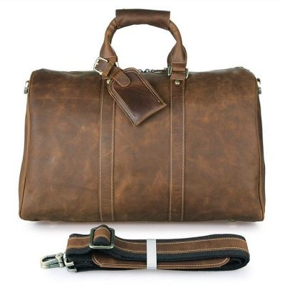Brown Leather Duffle Bag Weekend Bag