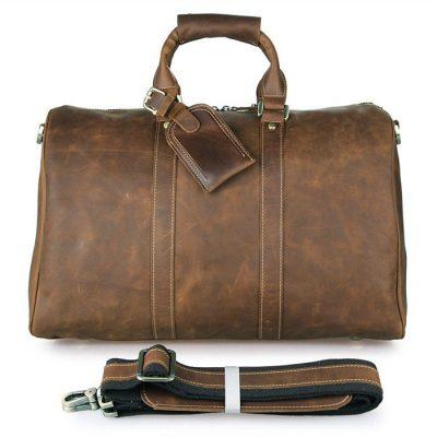 Brown Leather Duffle Bag Weekend Bag