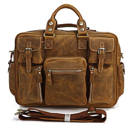 Casual leather briefcases-Brown color