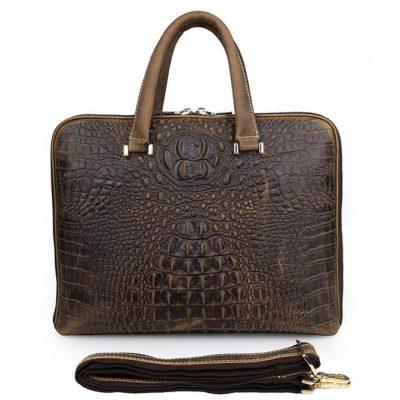 Crocodile Embossed Leather Bag / Laptop Bag