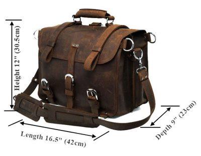 Large Vintage Handmade Leather Messenger-Size