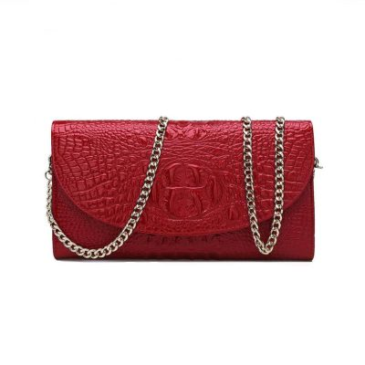 Crocodile Embossed Leather Crossbody Clutch