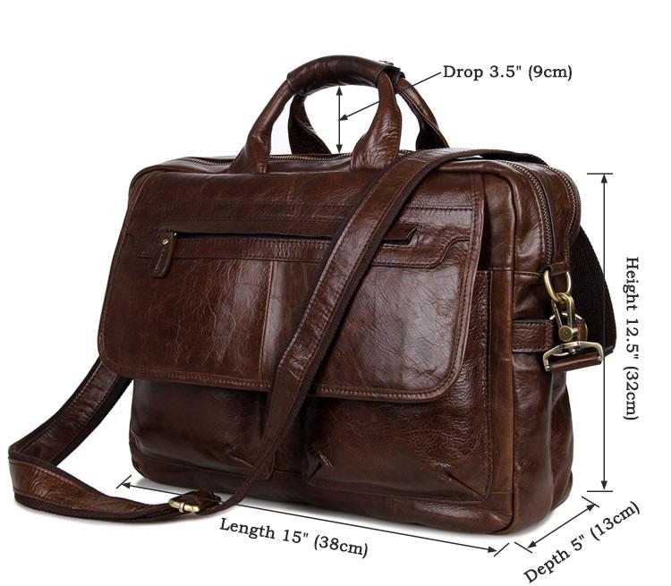 Leather Messenger Laptop Bag Brucegao