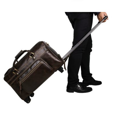 Leather Trolley Duffle Travel Bag