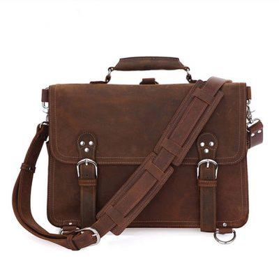 Rugged Leather Messenger Bag