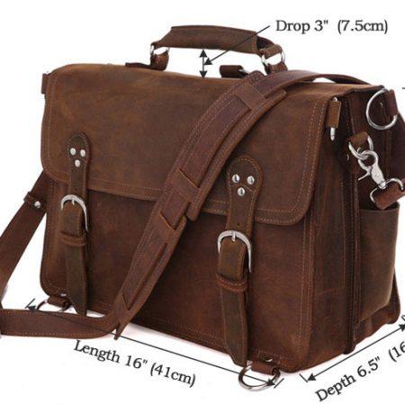 Rugged Leather Messenger Bag-Size