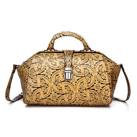 Yellow Embossed Leather Handbag