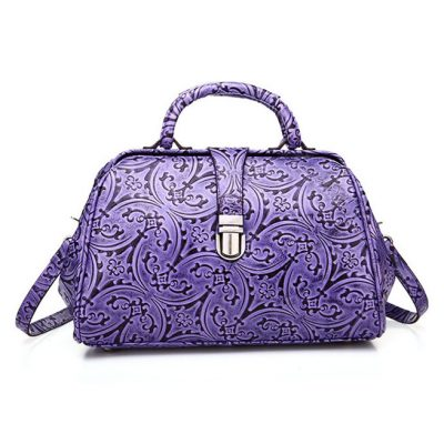 Purple Embossed Leather Handbag