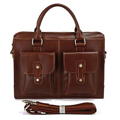 Unisex classic leather briefcase