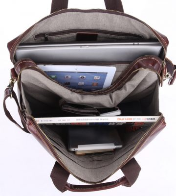 Vintage Leather Laptop Bag-Inside