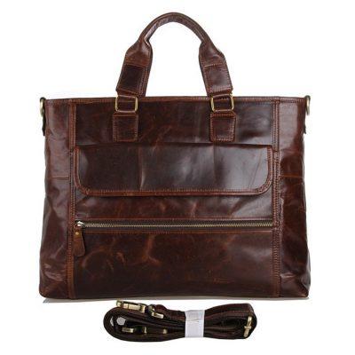 Vintage Leather Crossbody Laptop Bag