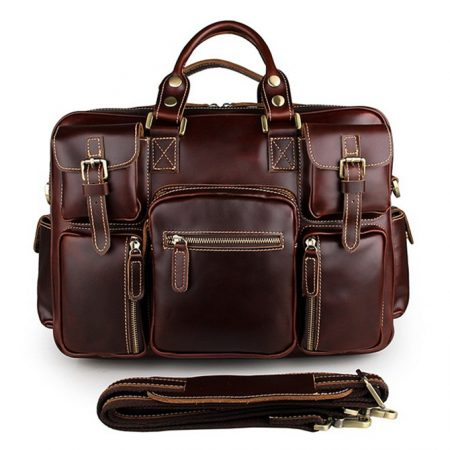 casual leather briefcases-dark red wine color
