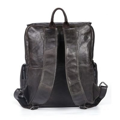 Black Casual Leather Backpack-Back