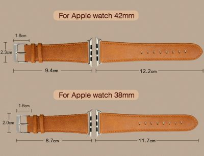 Brown Leather Apple Watch Band-Size