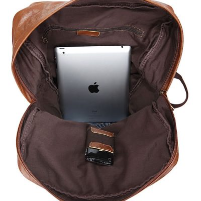 Casual Leather Travel Backpack-Inside