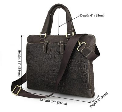 Crocodile Embossed Laptop Bag-Size