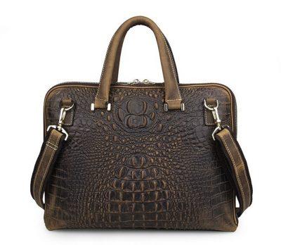 Crocodile Embossed Leather Bag-Back