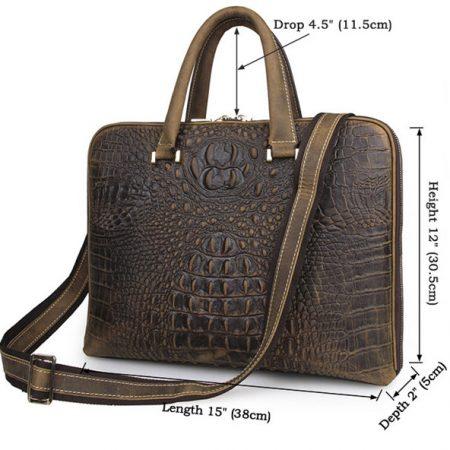 Crocodile Embossed Leather Bag-Size