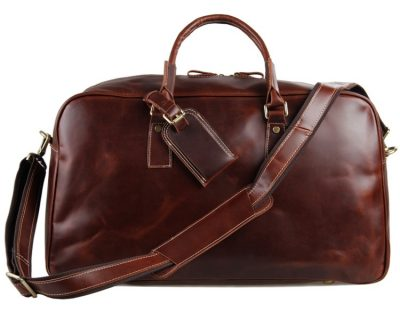 Leather Travel Duffle Bag Luggage Bag-Front