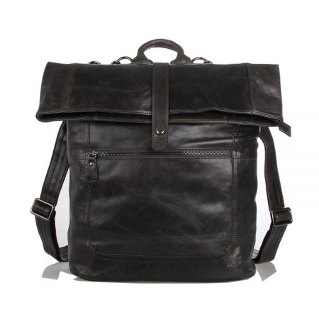 Men's Leather Roll Top Backpack