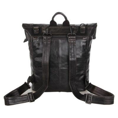 Men's Leather Roll Top Backpack-Back