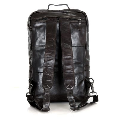 Men's Outdoor Camping Leather Backpack Travel Bag-Back