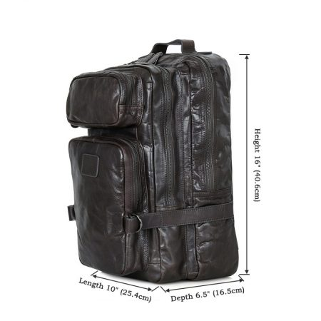Men's Outdoor Camping Leather Backpack Travel Bag-Size