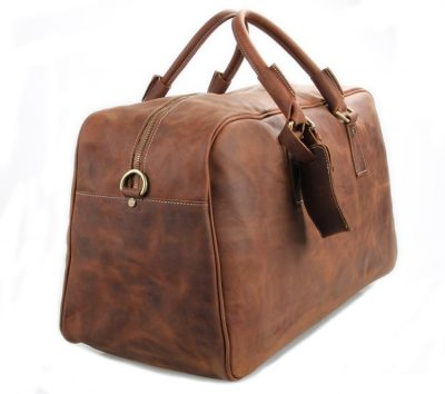 Unisex Leather Duffle Bag Travel Bag-Side