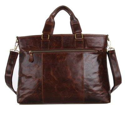 Vintage Leather Crossbody Laptop Bag-Back