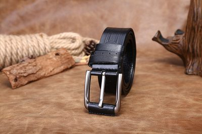 Black Classic Leather Belt-Long