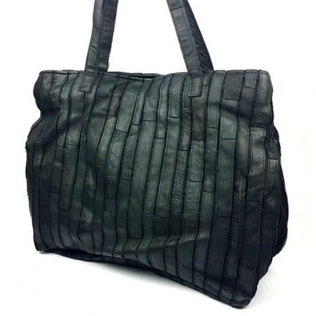Black Mosaic Leather Handbag-Side