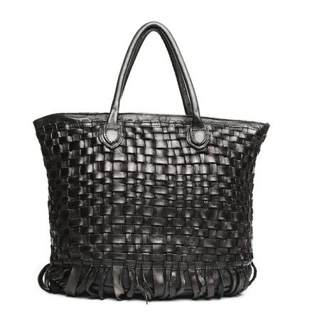 Black Vegetable Tanned Leather Handbag-Front