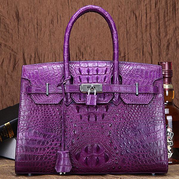 Brucegao women's classic crocodile leather handbag