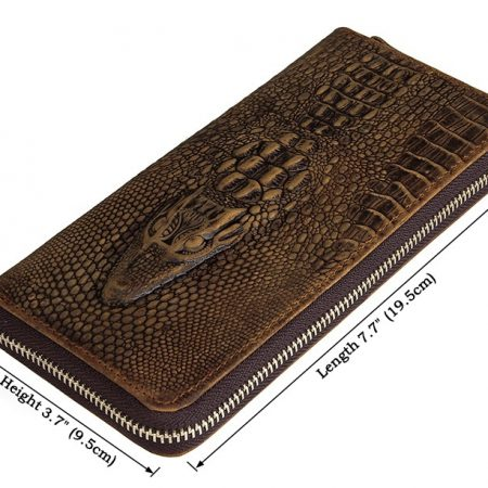 Crocodile Pattern Leather Clutch Wallet-Size