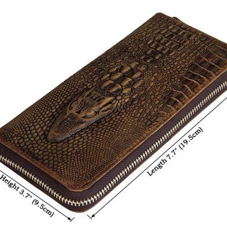 Crocodile Pattern Leather Clutch Wallet-Size
