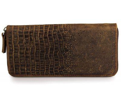 Crocodile Pattern Leather Clutch Wallet-Top