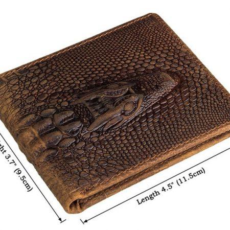 Crocodile Pattern Leather Wallet-Size