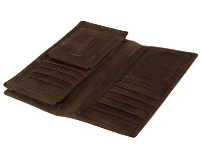 Dark Brown Leather Wallet Card Holder Wallet-Inside