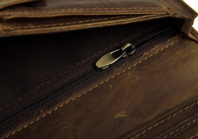 Dark Brown Leather Wallet Card Holder Wallet-Zipper