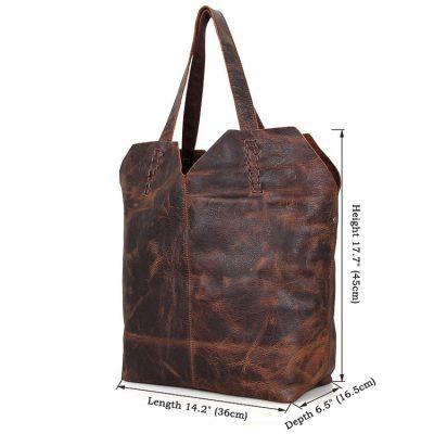 Designer Vintage Handmade Leather Tote Bag-Size