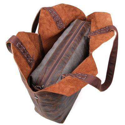 Designer Vintage Handmade Leather Tote Bag-Top