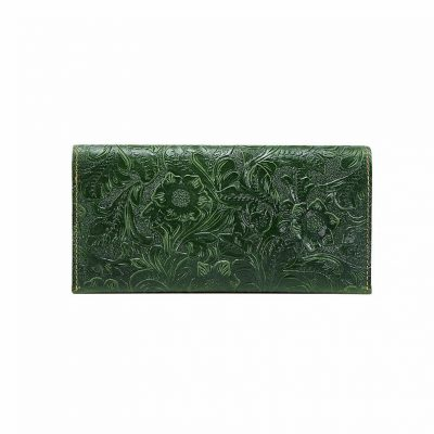 Embossed Flowers Long Leather Clutch Leather Purse-Front