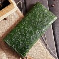 Embossed Flowers Long Leather Clutch Leather Purse-Exhibition