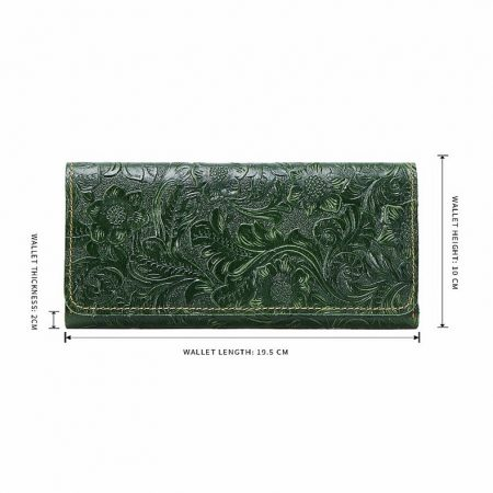 Embossed Flowers Long Leather Purse Clutch-Size