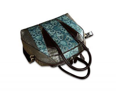 Green Shell Type Leather Handbag-Top