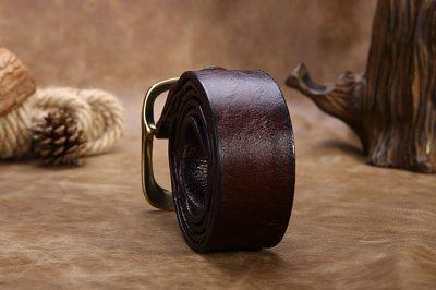Handmade Dark Brown Mens Leather Belt-Back