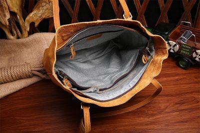 Handmade Vintage Leather Tote-Inside